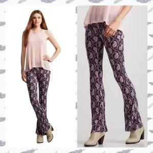 Aeropostal Blue & Pink Paisley Flare Leggings